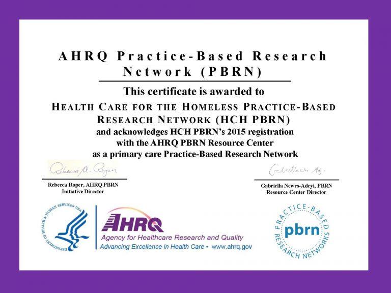 HCH PBRN AHRQ Certificate 2015